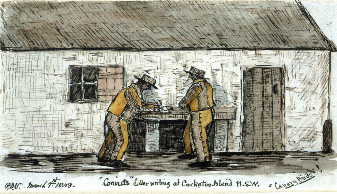 Rough drawing of a pair of male prisoners standing at a high counter leaning to write. The men are wearing yellow and white prison uniforms and flat brimmed hats.