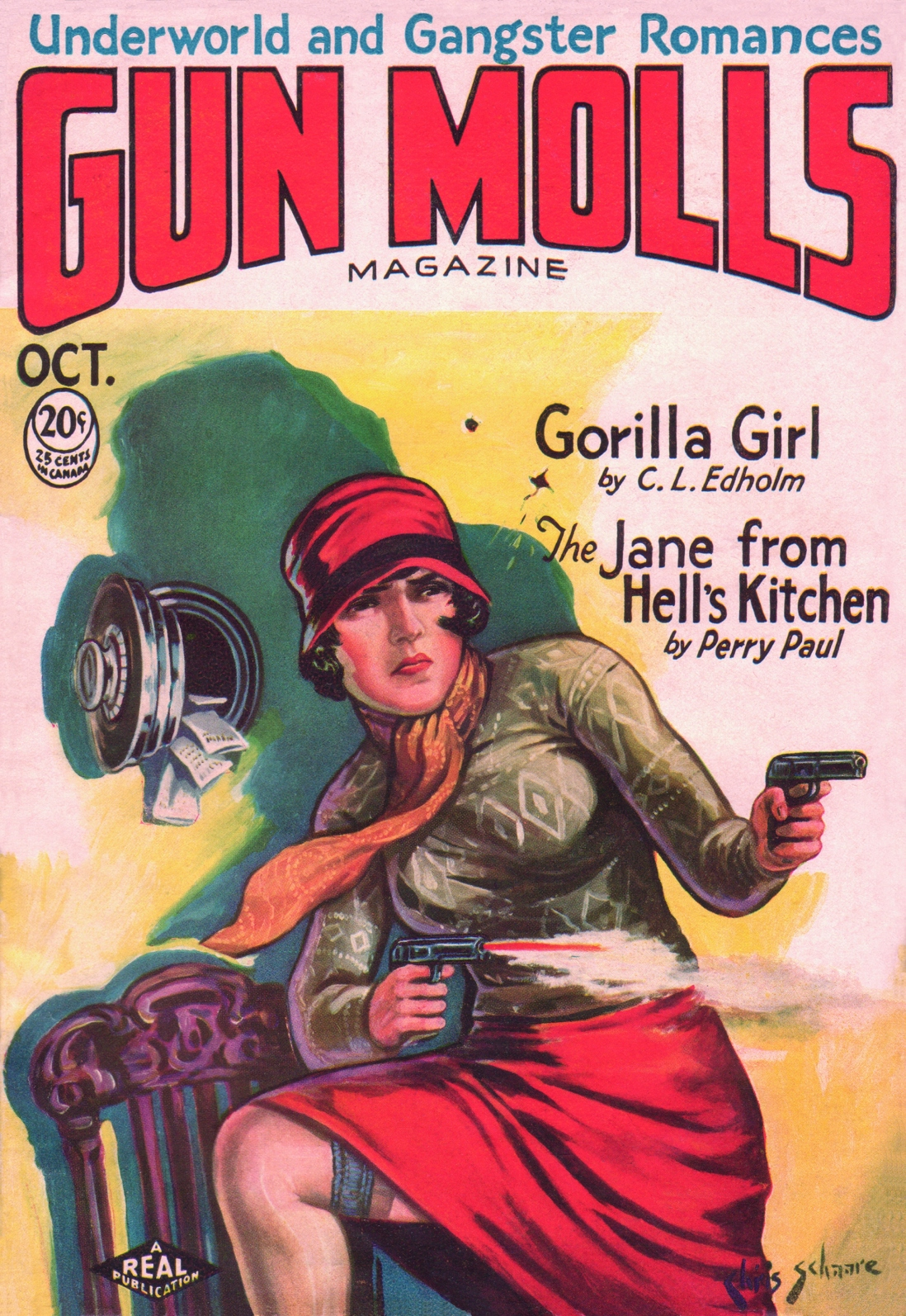Illustrated magazine cover showing a lady with her foot on a chair firing a gun from each hand.