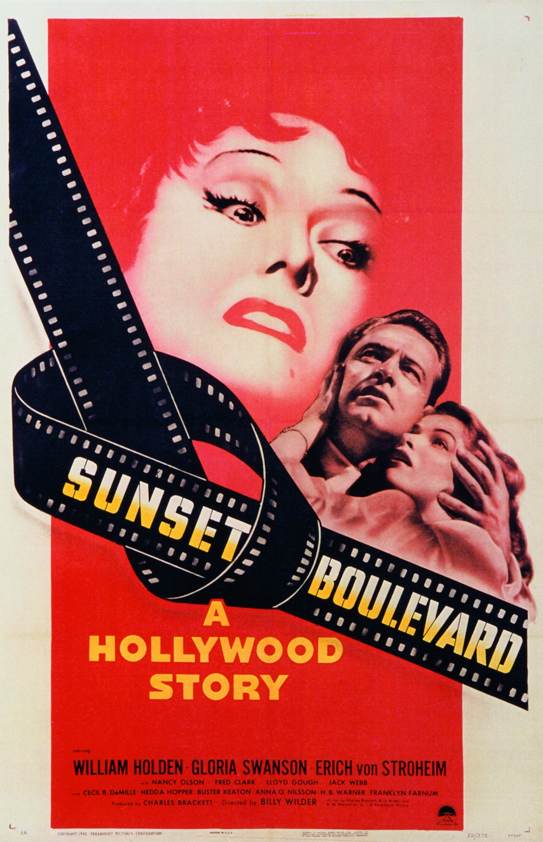 Movie poster showing the faces of the film's cast. Text reads: Sunset Boulevard A Hollywood Story.