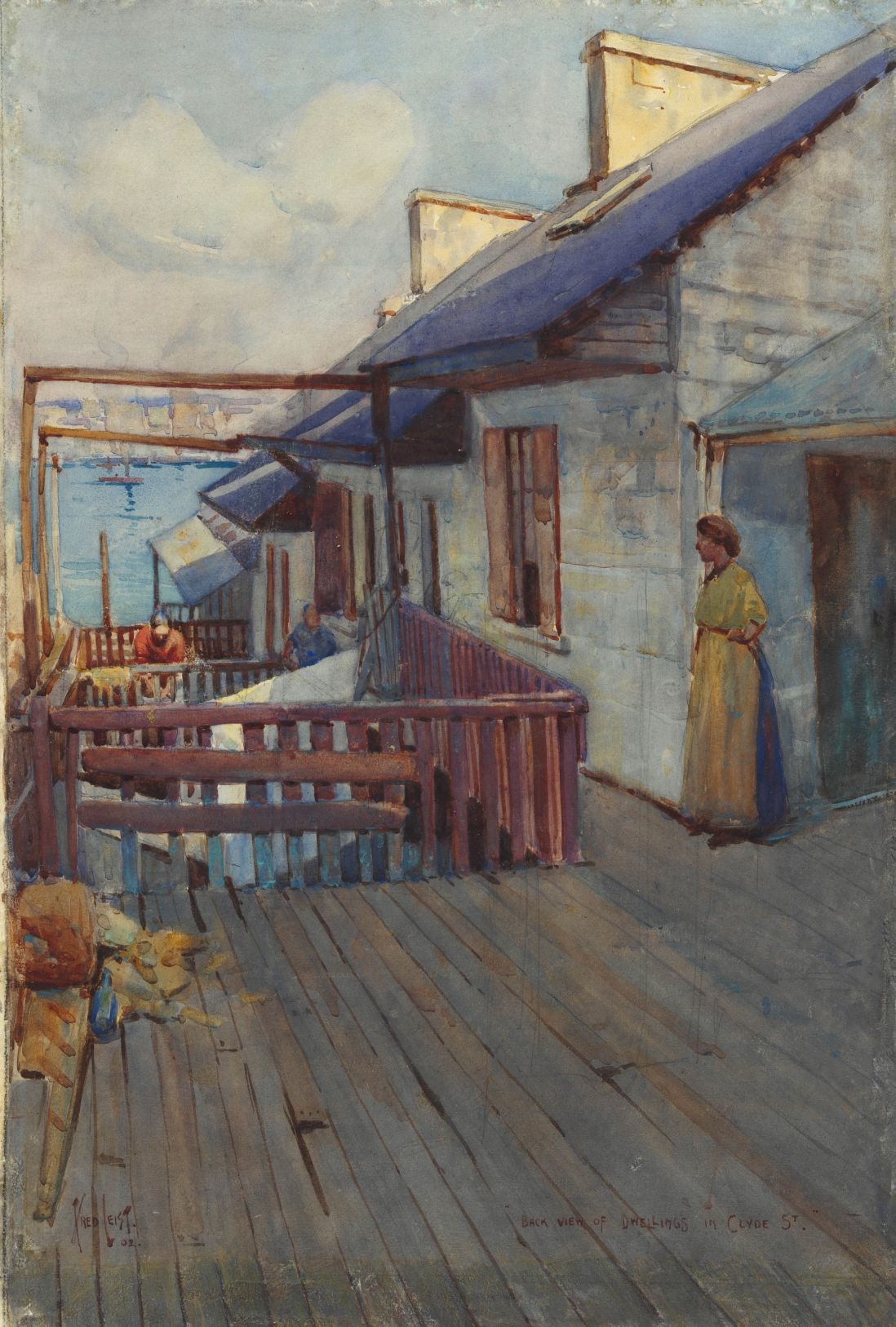 Painting showing a lady looking out over the back verandas of a row of terrace houses leading down to the water.