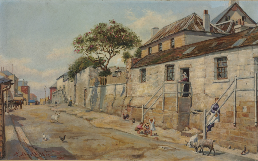 Painting of street scene showing row of cottages on sandstone base above the street with timber steps to their front doors. Women sit on the front steps and goats meander the street.