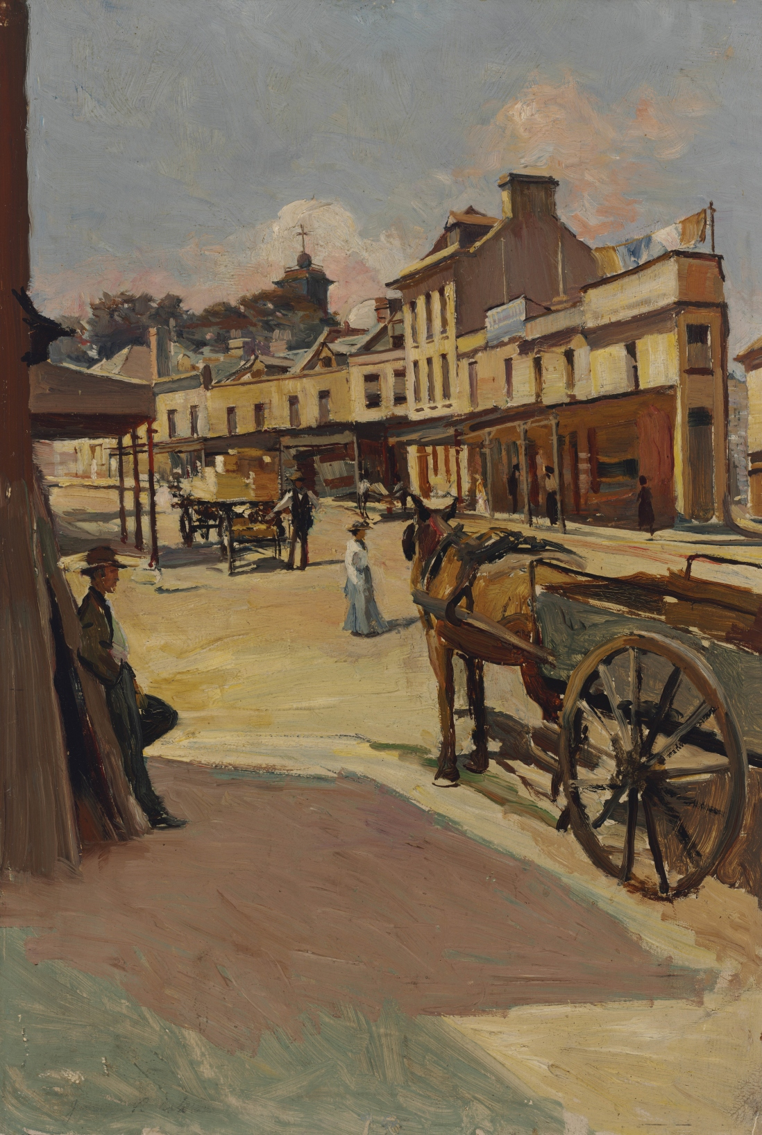 Painting of street scene. A harose and cart wait in the foreground and figures are shown going about their business in the shops shown in the painting's background.