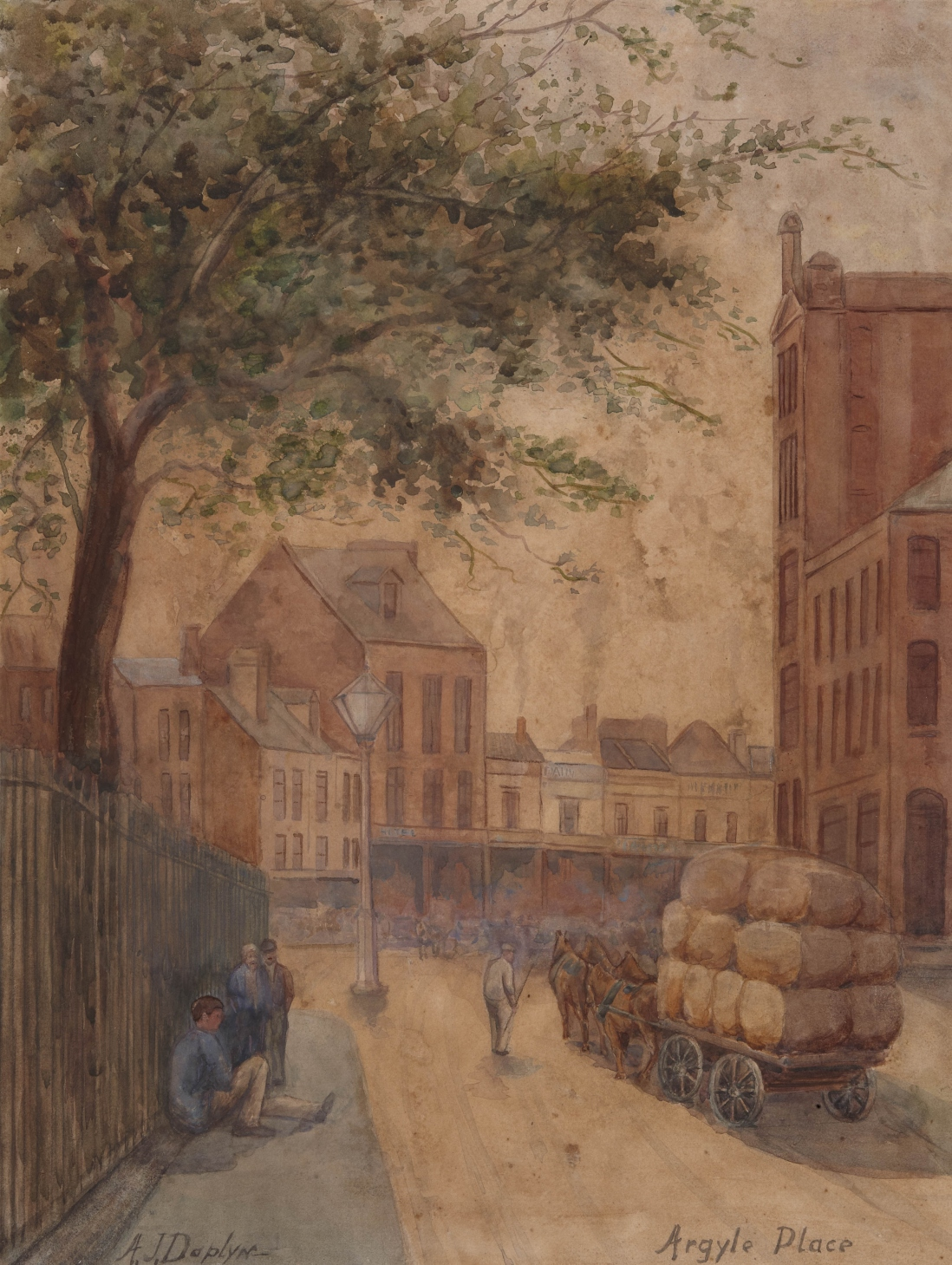 Painting showing a street with a wagon loaded with bails. In the foreground men sit up against a timber paling fence.