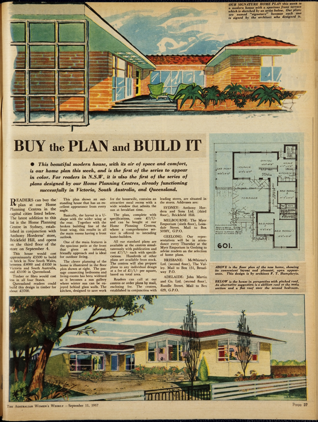 Page from booklet with two colour house illustrations and a floor plan on a blue background.