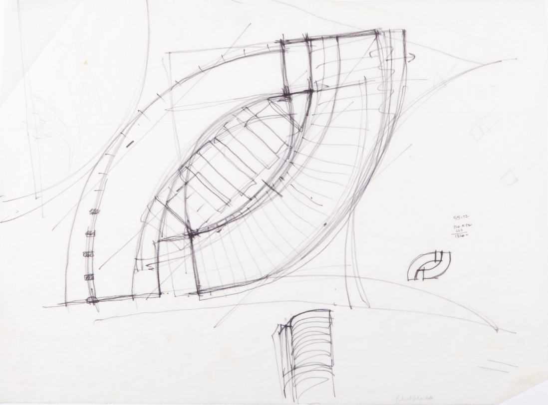 This is an image of a hand drawn sketch of a building floor plan