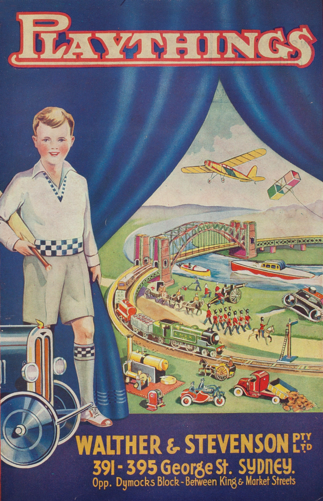 This is a colour graphic of a young boy standing in front of a blue curtain with a large range of toys behind the curtain