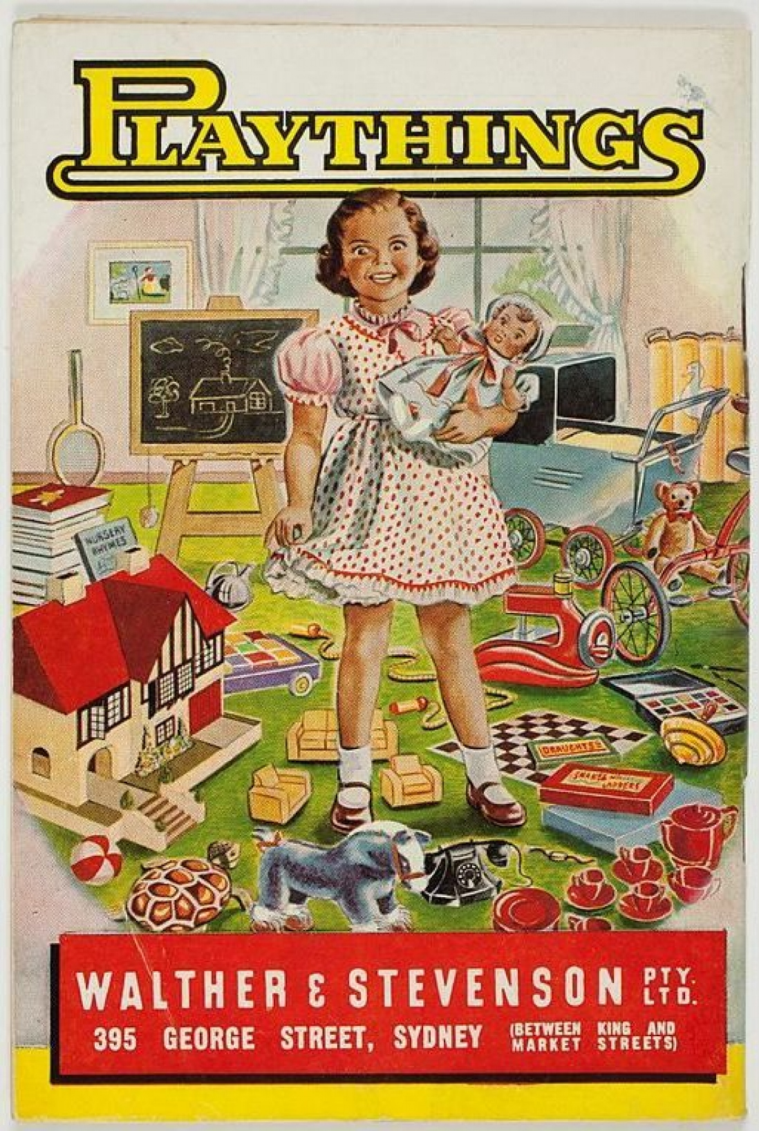 Back cover of Playthings catalogue showing girl with dolls