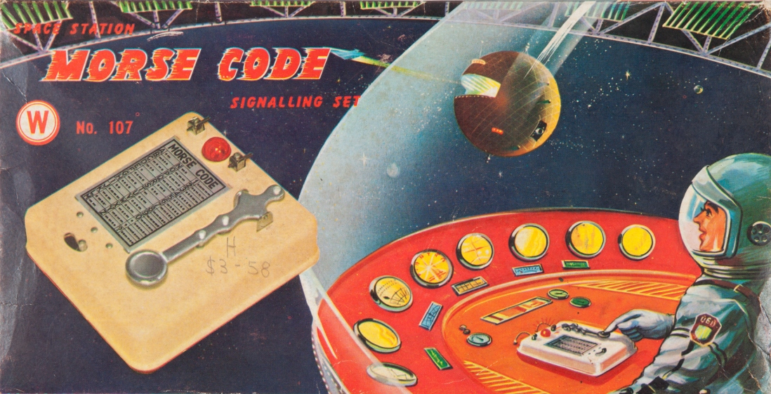 This is a colour graphic of a morse code signalling set toy box with a space man at the controls of his space ship
