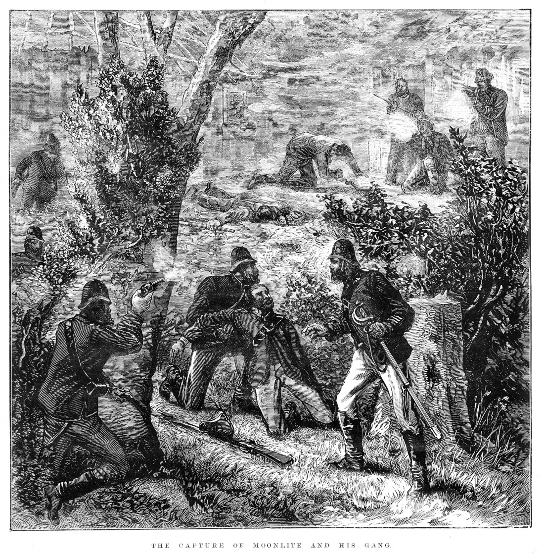 Engraved bush scene with three troopers in helmets with weapons, one holding wounded man, with other figures in background.