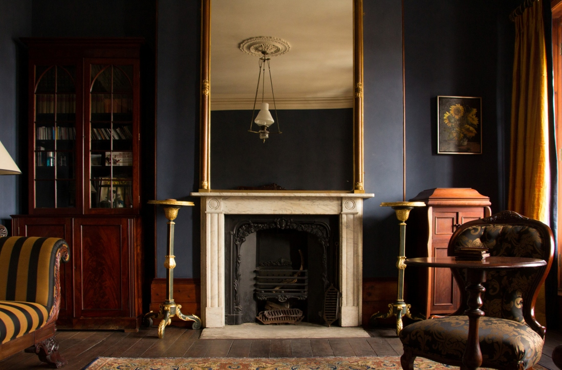 View of interior of room including fire place at the Georgian Gentleman's Townhouse.