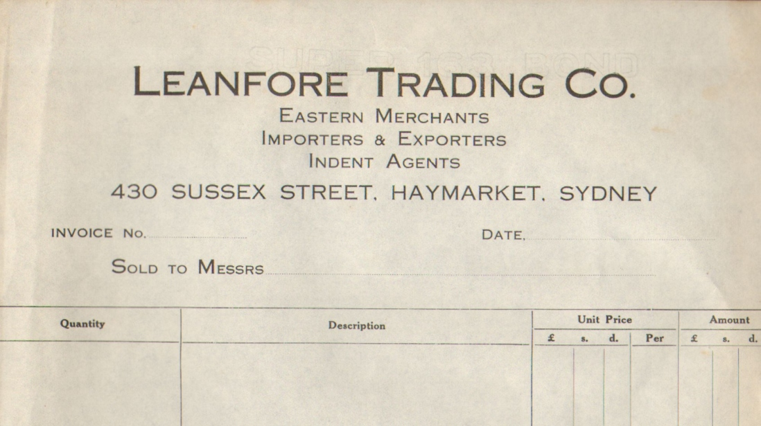 This is a copy of a blank invoice for Leanfore Trading Co