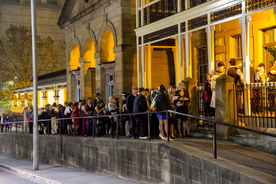Guests lining up to enter Mayhem at the Justice & Police Museum