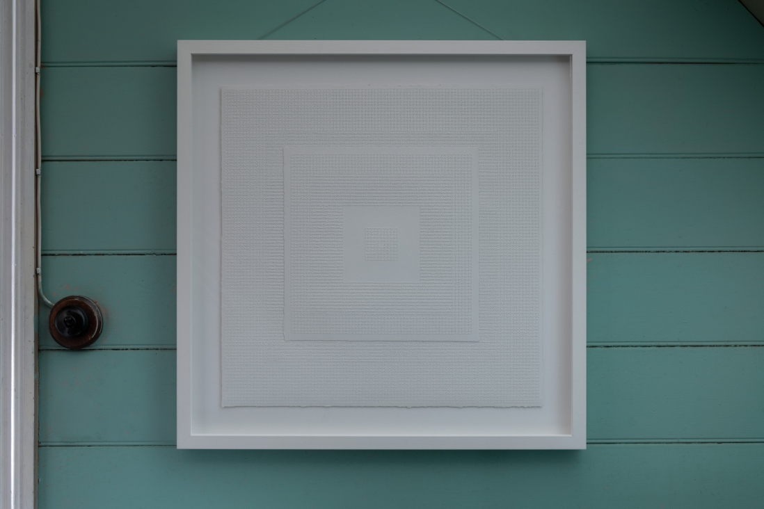 Artwork photographed in situ at Meroogal. Perforated paper in frame.