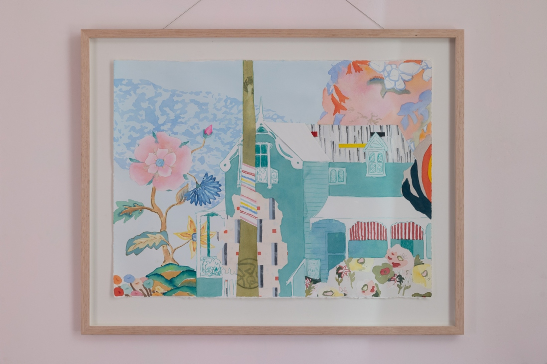 Artwork photographed in situ at Meroogal.  Watercolour and pencil on cotton rag