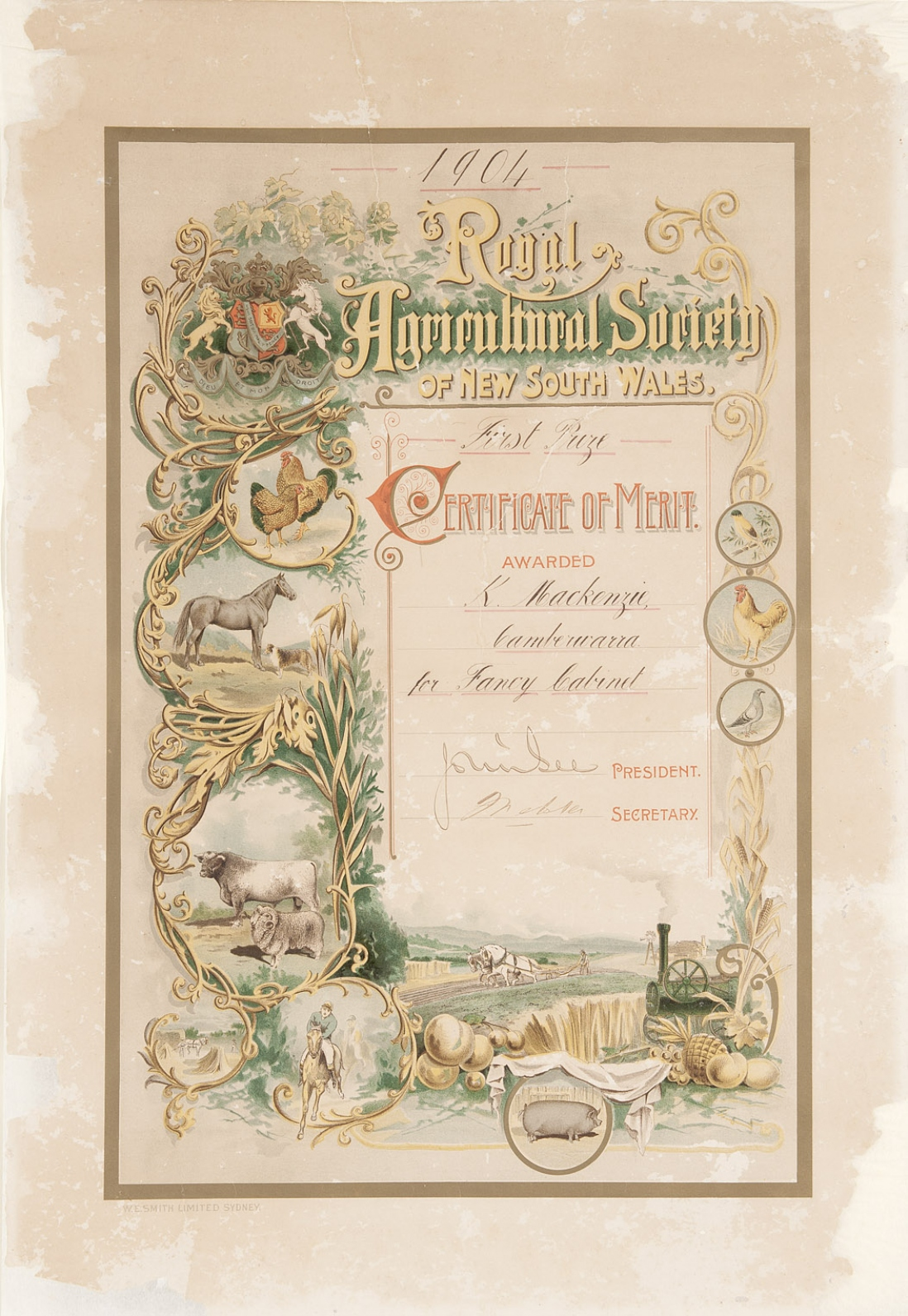 Ornately decorated certificate.