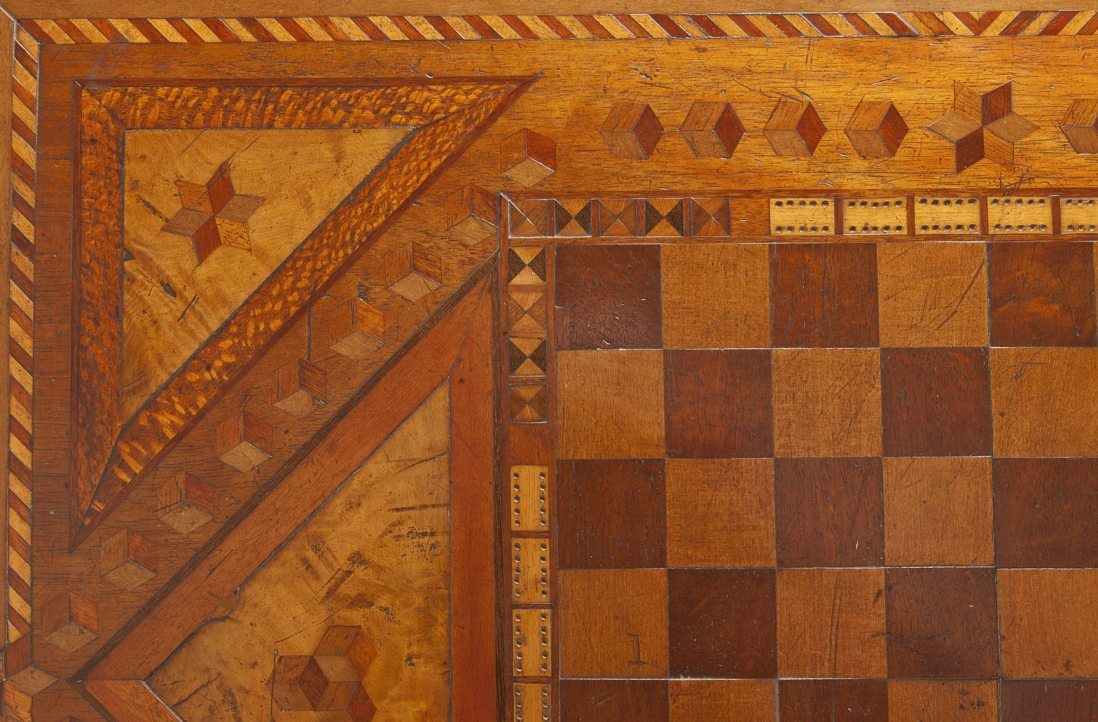 Close view of inlaid table top.