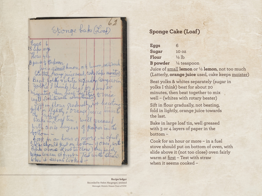 Scanned pages from manuscript of recipes including handwritten notes and transcription.
