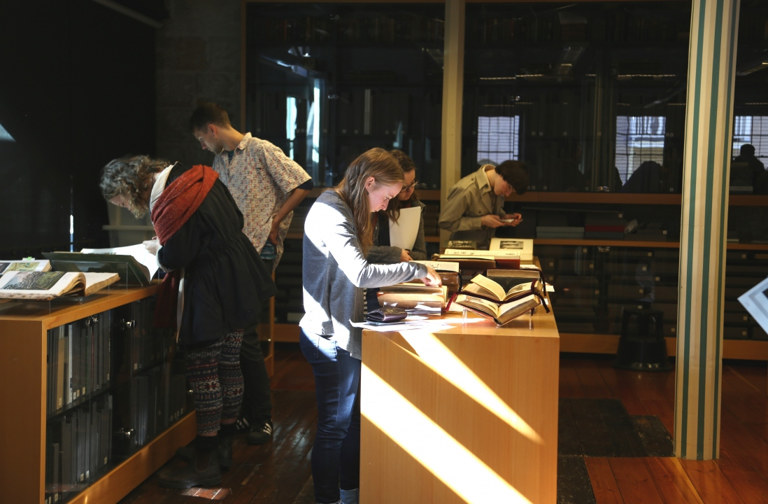 People standing at sunlit cabinets looking at collection items.