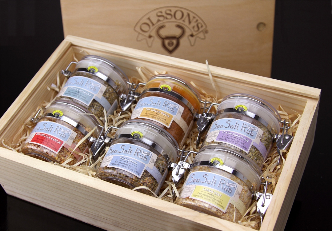 Box with jars of salt