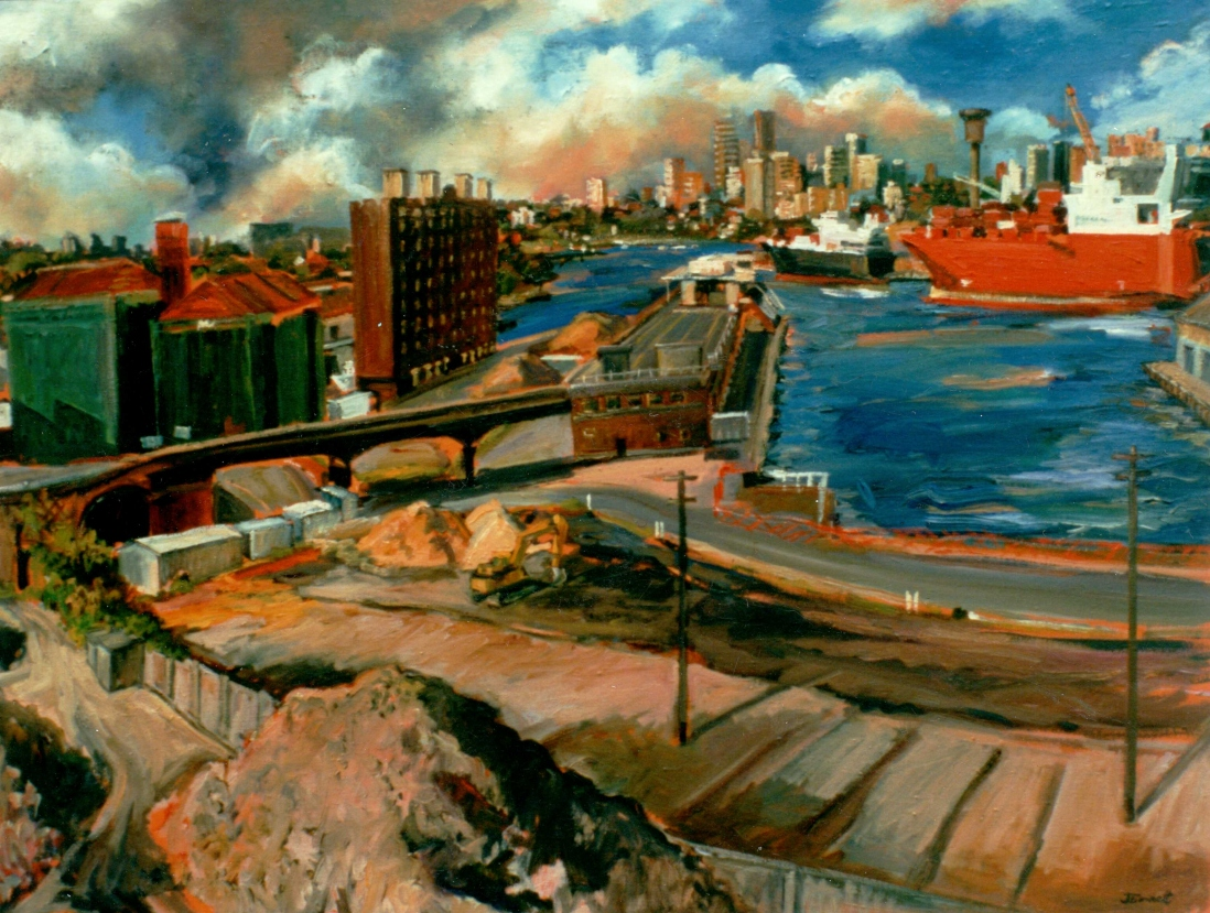 Oil painting showing the construction of the Star City Casino by Jane Bennett, 1994