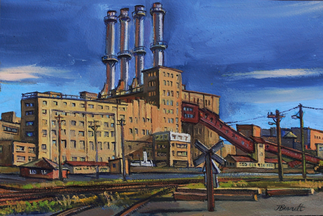 Oil painting of the Pyrmont Power Station and Pyrmont Goods Yard by Jane Bennett, 1988