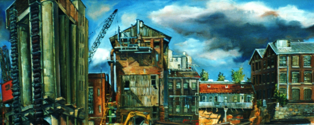 Oil painting of the CSR Refinery demolition by Jane Bennett, 1996