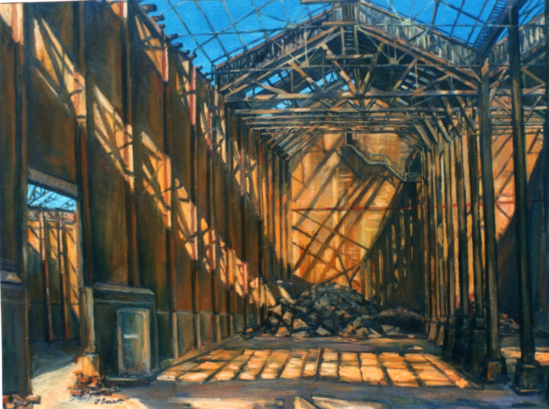Oil painting of an industrial building by Jane Bennett, 1996