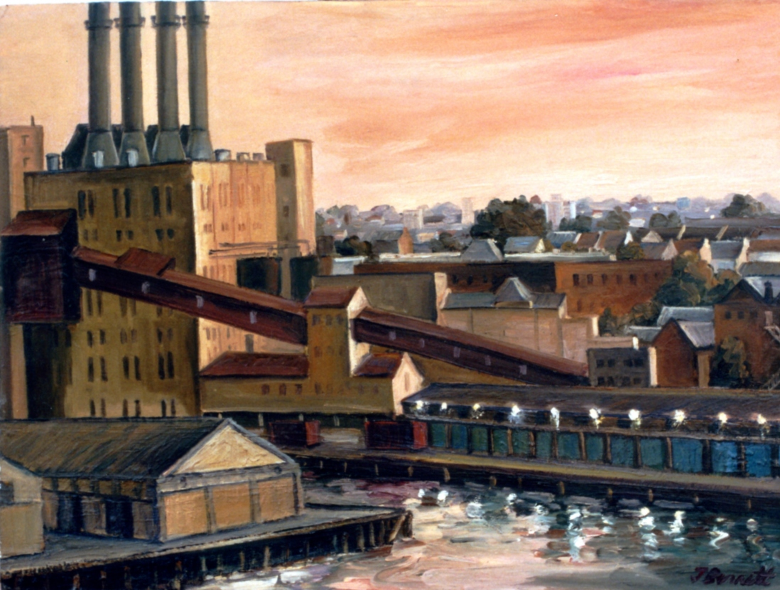 Painting of Pyrmont Power Station by Jane Bennett, 1989.