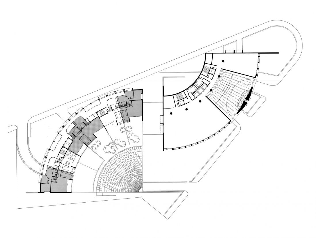 This is a digital image of the floor plan of a building based on the shape of two curving quadrants