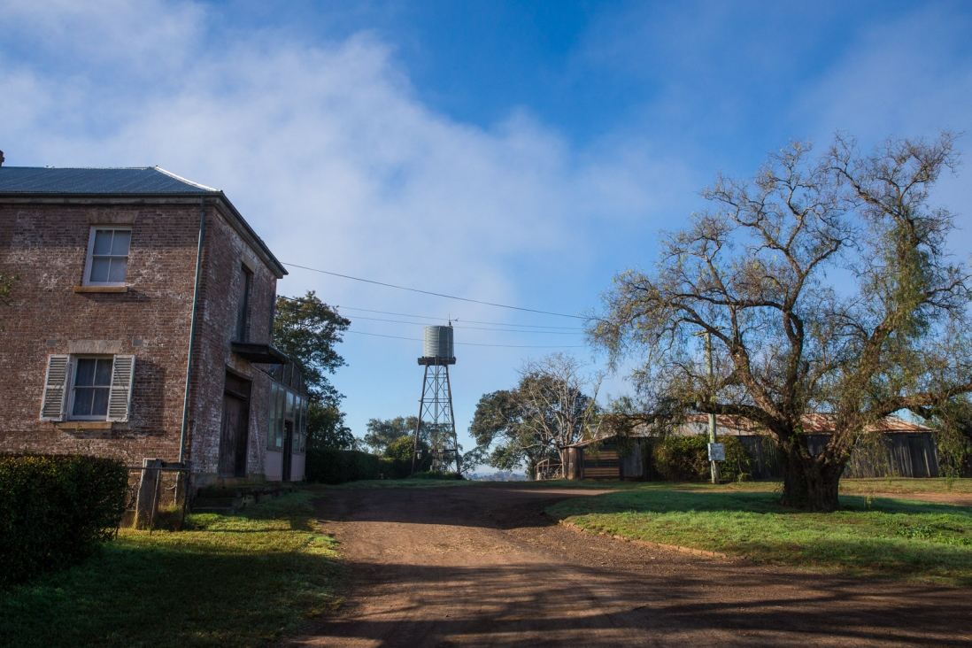 Rear of building with driveway in foreground, water tower in background.