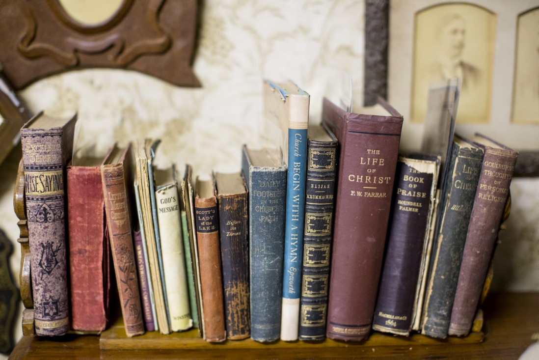 Row of books held in a book slide.