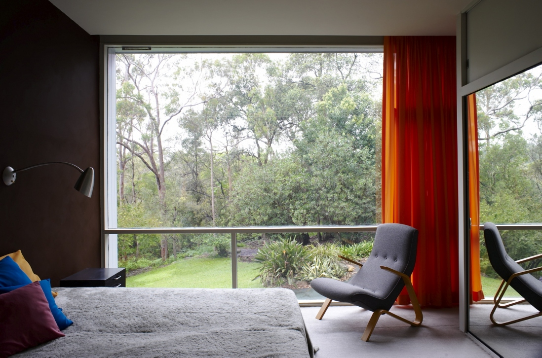 View from a 50s style bedroom with orange curtains  looking out a large  window onto. Share your 50s Style Instagram competition   Sydney Living Museums