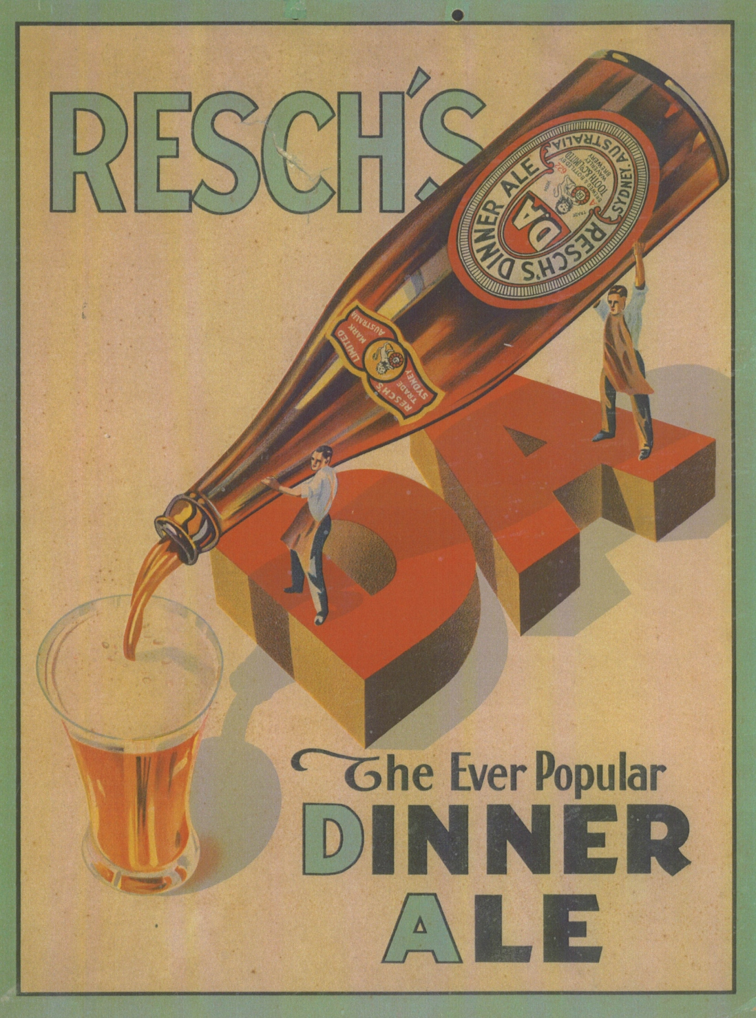 """Poster showing a brown beer bottle pouring beer into a glass, text reads """"DA The Ever popular Dinner Ale"""""""