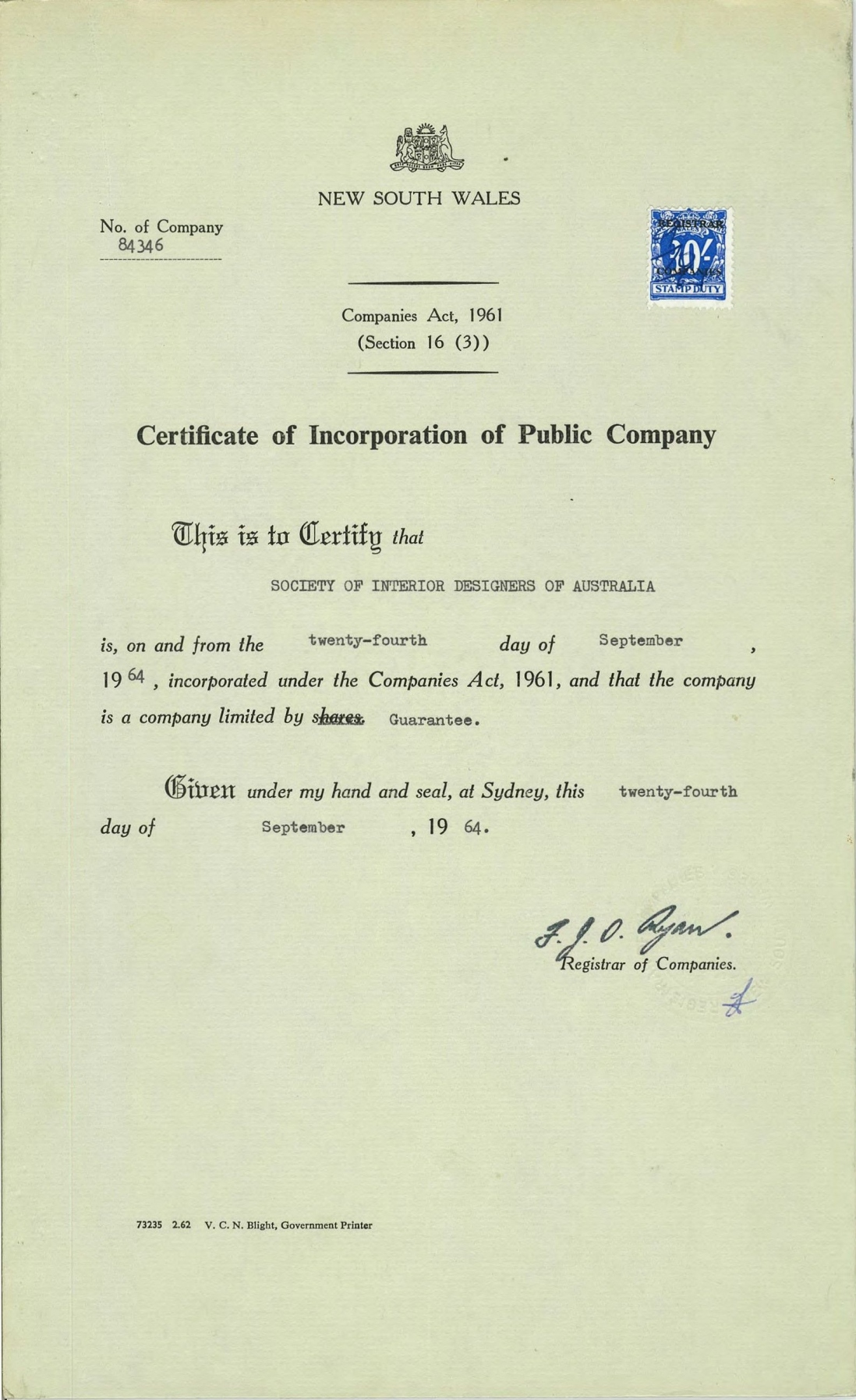 SIDA Certificate of Incorporation 1964