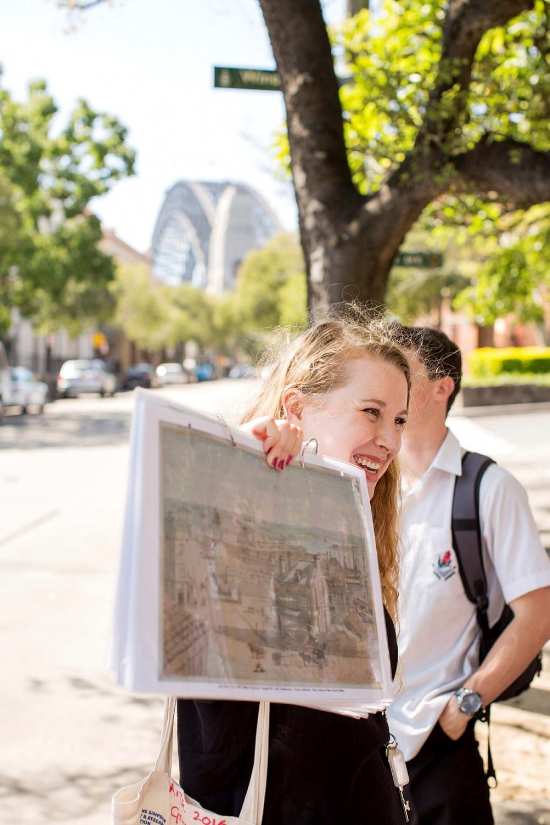 During the program student walk through The Rocks, using artworks, maps and newspaper extracts to understand how the area has changed over time