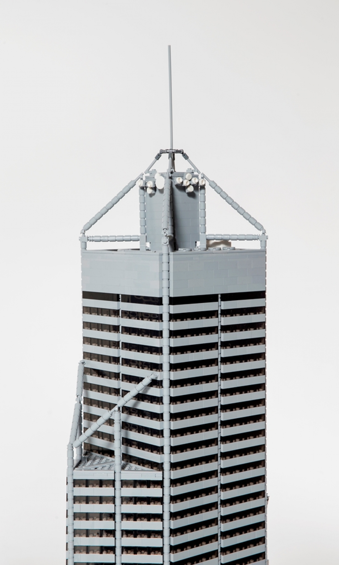 Close-up of Central Park Tower model in LEGO.