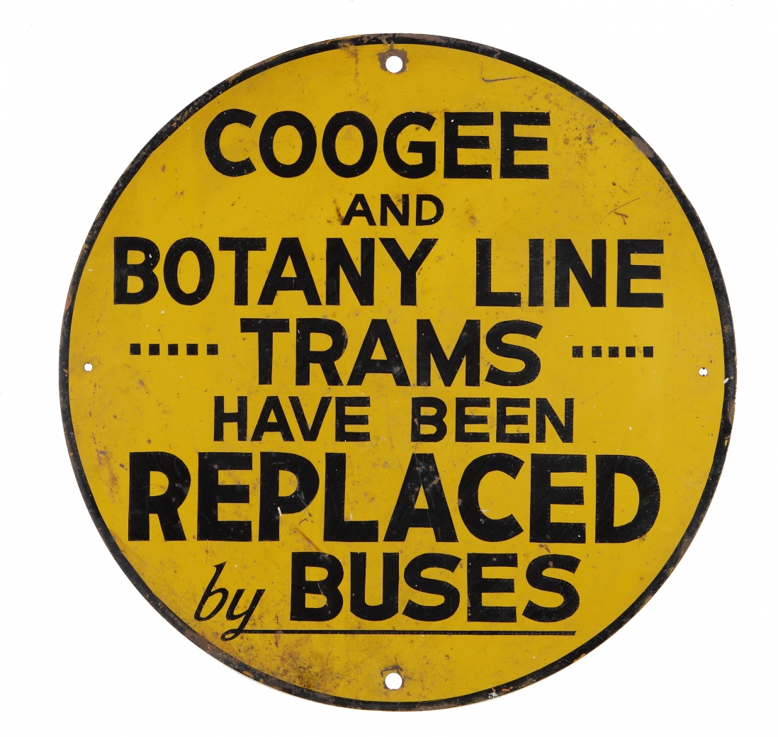 Sign reading 'Coogee and Botany line trams have been replaced by buses'