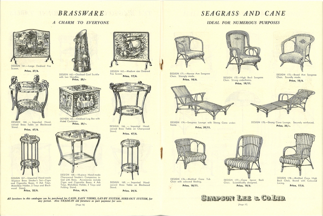 Two page spread of black and white illustrations of 'Brassware' and 'Seagrass and Cane' furniture.