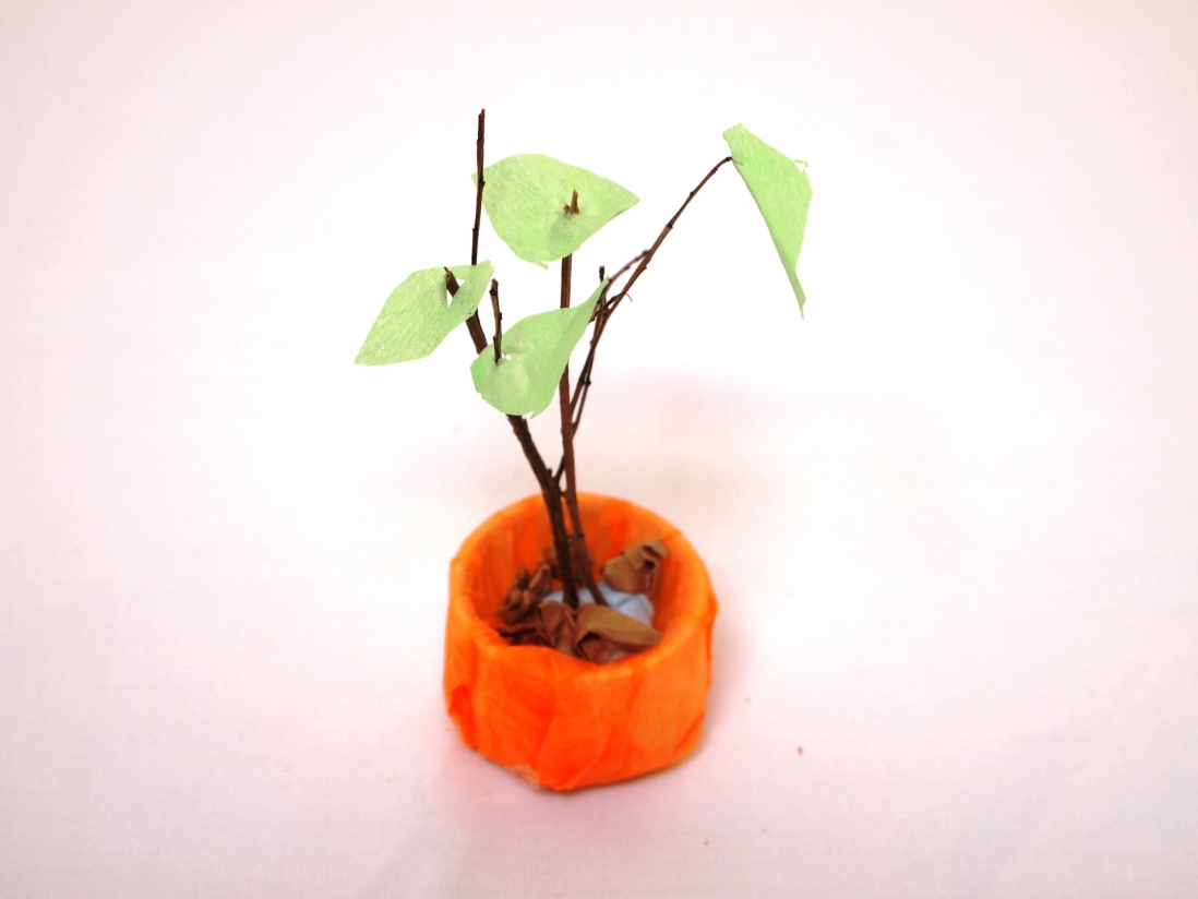 Finished paper craft plant in a pot.