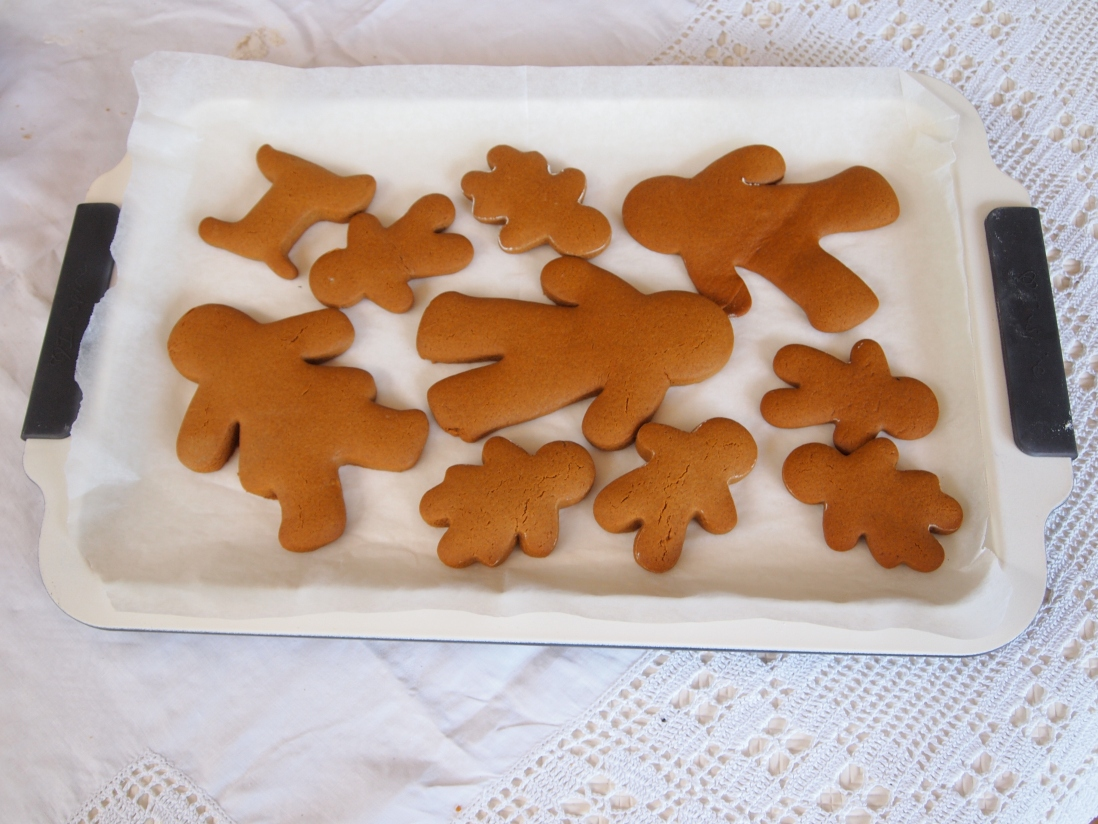 Cut out gingerbread shapes on white tray.