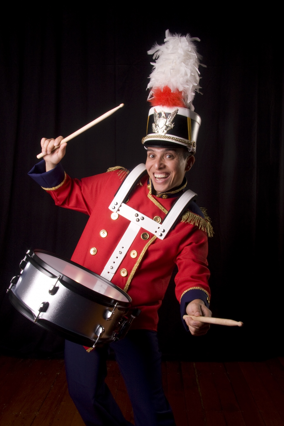 Man dressed as a toy soldier with drum