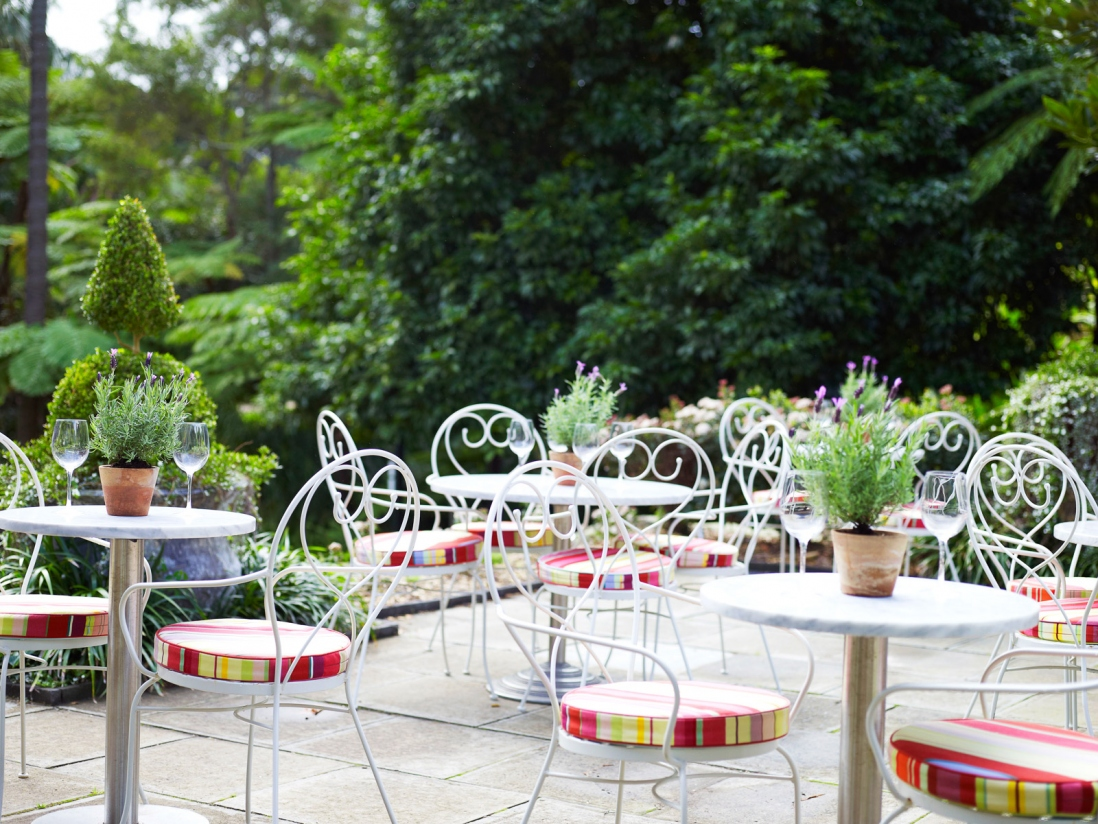 Outdoor setting on terrace.