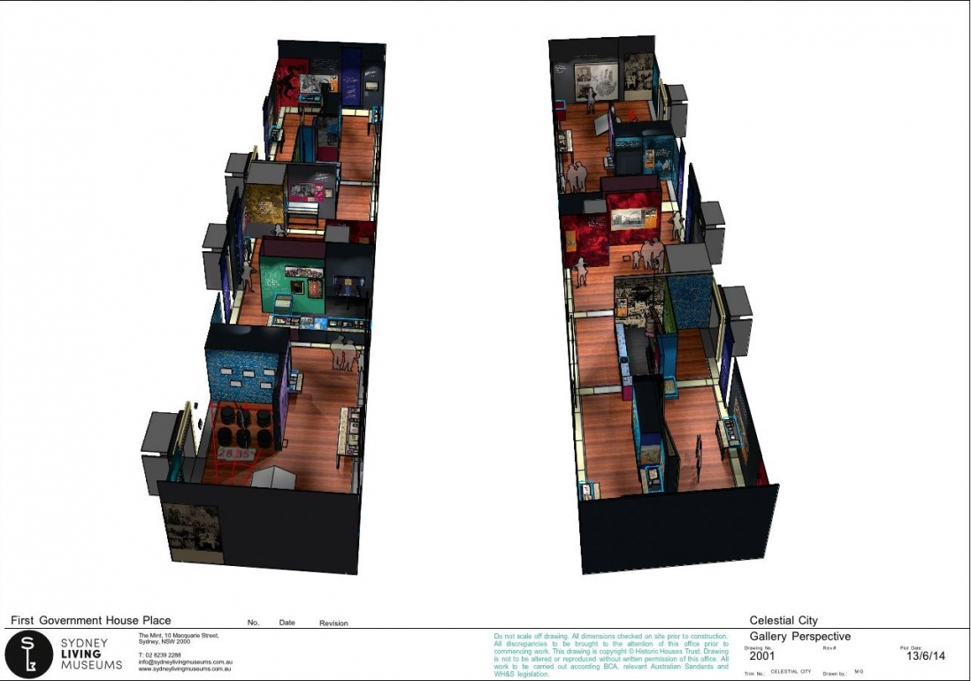 This is a 3D rendering of the Celestial City exhibition plan