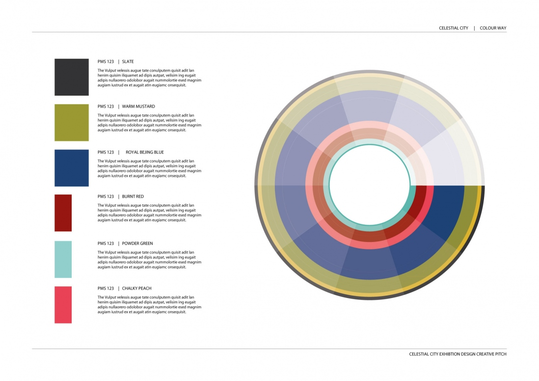 This is a colour way in the shape of a wheel showing the six key colours originally selected to inform the look and feel of the exhibition