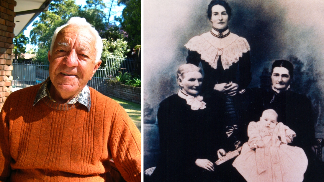 Combined photo portrait featuring contemporary image of man in orange jumper and group photo of four women