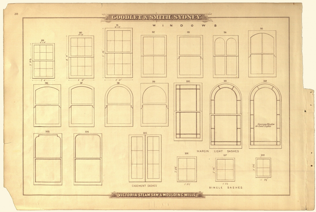 Page of old trade catalogue with drawings of different styles of window.