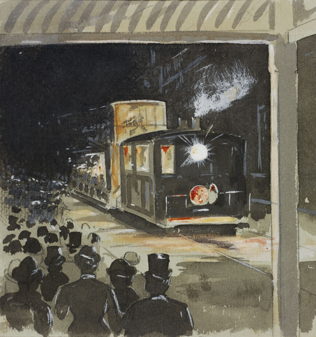 Illustration of a steam tram light up at night passing along a street crowded with onlookers on the footpaths.