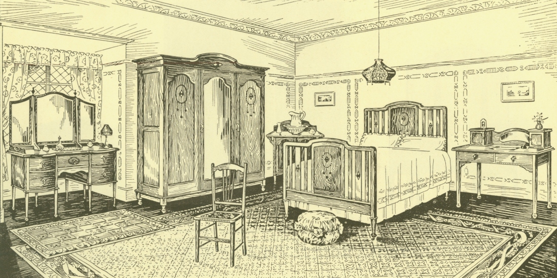 Illustration of a bedroom with a bed and wardrobe
