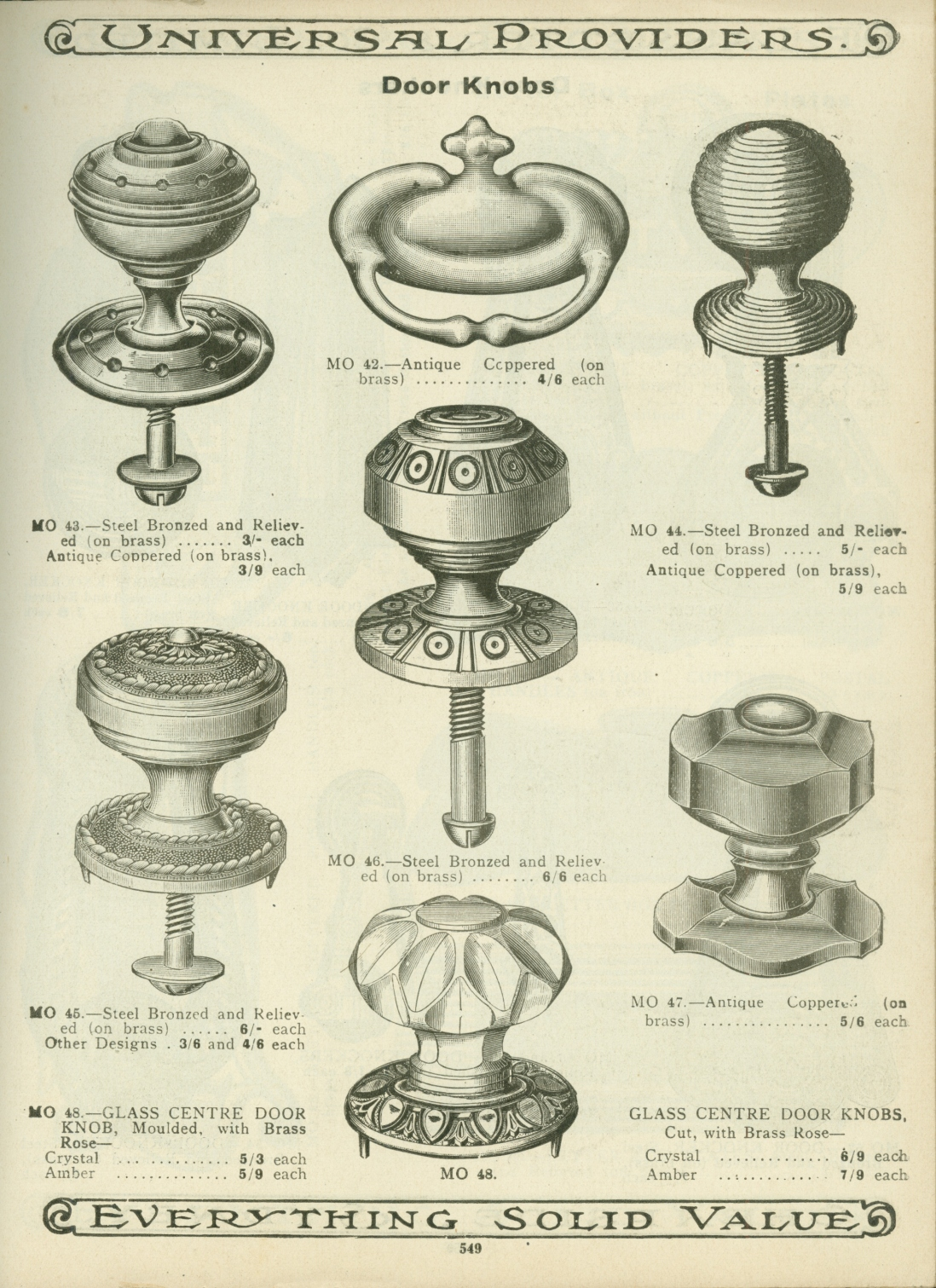 Page from catalogue, with illustrations of door knobs.