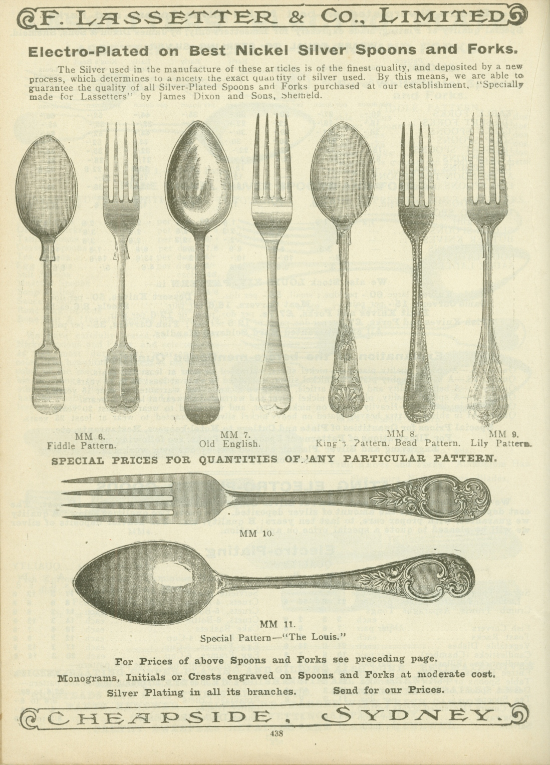Page from catalogue, with illustrations of spoons and forks.
